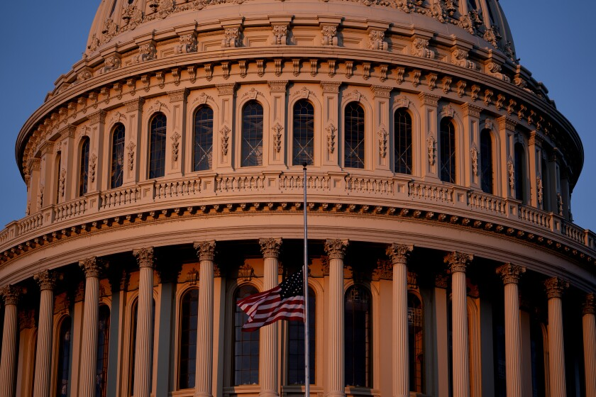 An American flag flies at half staff at the U.S. Capitol on Jan. 12, 2021 in Washington, DC.