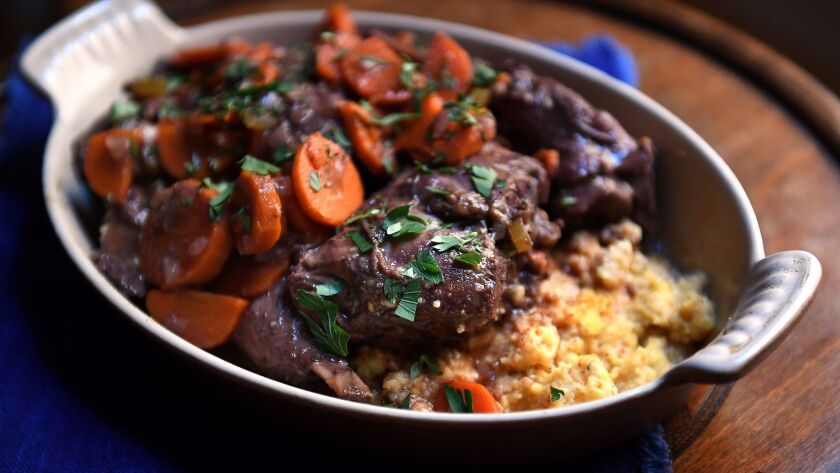 Traditional daube recipes usually call for pancetta or salt pork, which adds flavor and body to the stew, especially for rabbit daube.