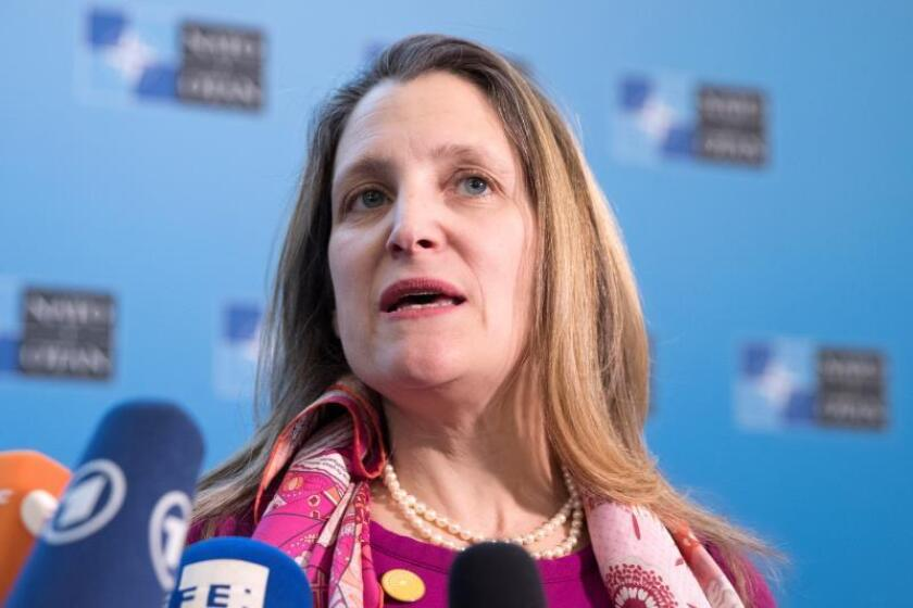 Candian Foreign Minister Chrystia Freeland speaks to media upon arrival for the meeting of the North Atlantic Council (NAC) in the Foreign Minister's session at the State Department in Washington, DC, USA, 04 April 2019. EFE/EPA/File