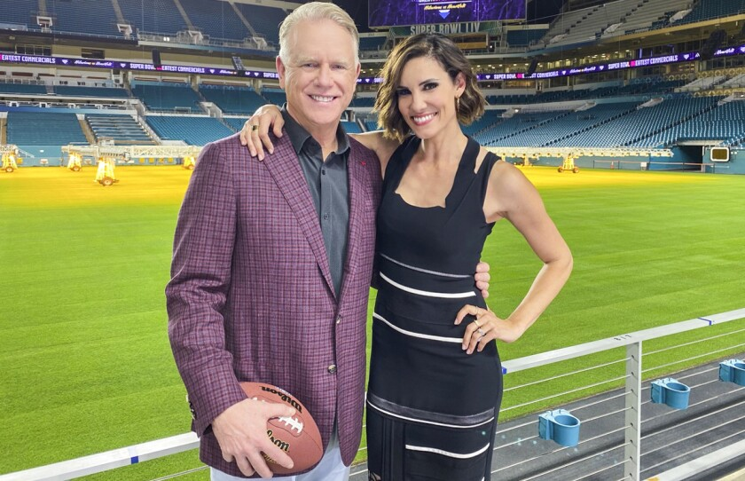 "Boomer Esiason and Daniela Ruah in ""Super Bowl Greatest Commercials 2020"" on CBS."