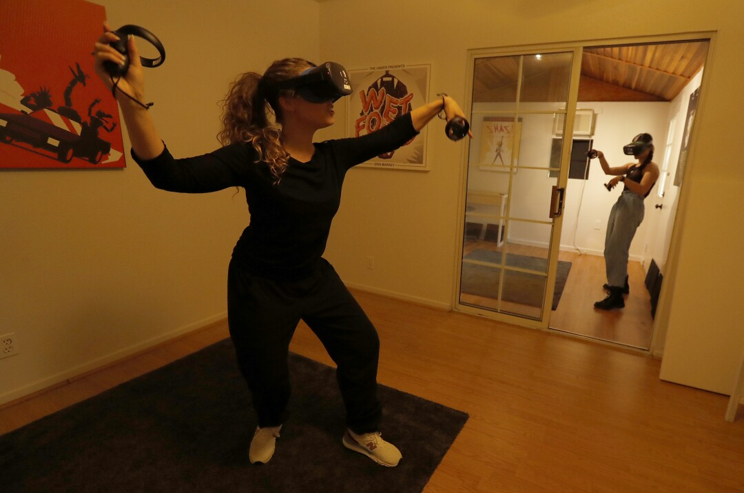 Dasha Kittredge, left, and Haylee Nichele are actors for Tender Claws, an experimental game studio that makes virtual and augmented reality games.