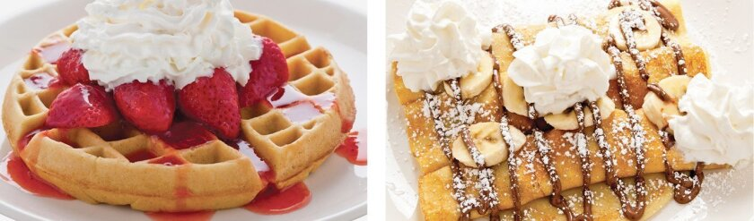 While known for its dozens of egg dishes, The Broken Yolk Café also serves a wide variety of other breakfast items, such as waffles and crepes.