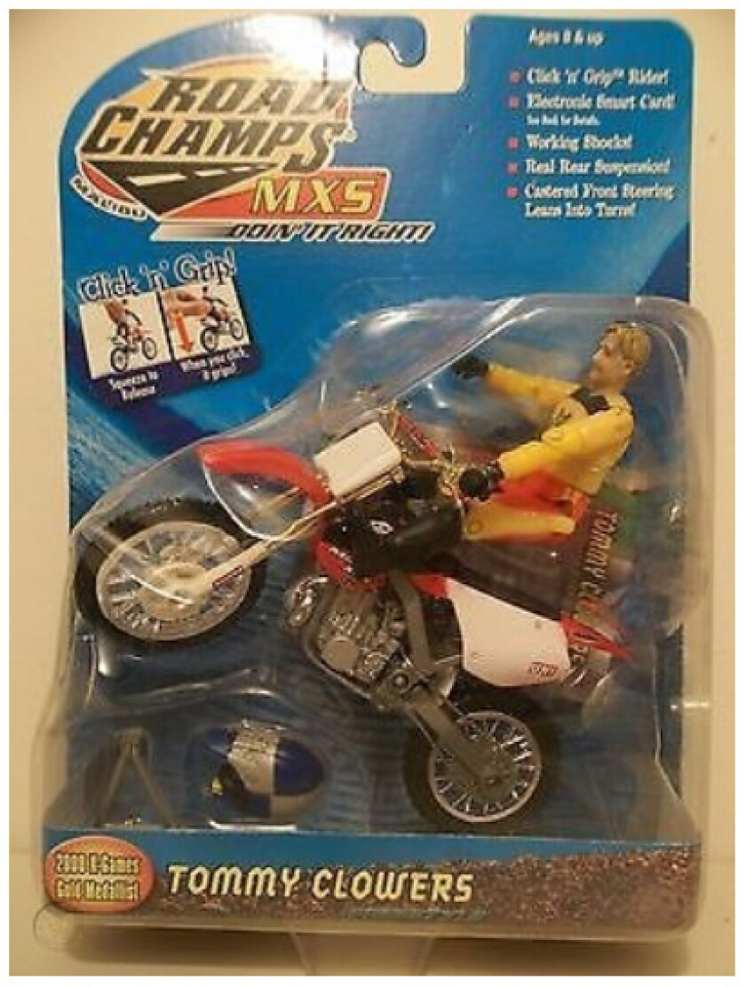 Tommy 'Tom Cat' Clowers motocross and freestyle motocross champion memorabilia includes his very own action figure.