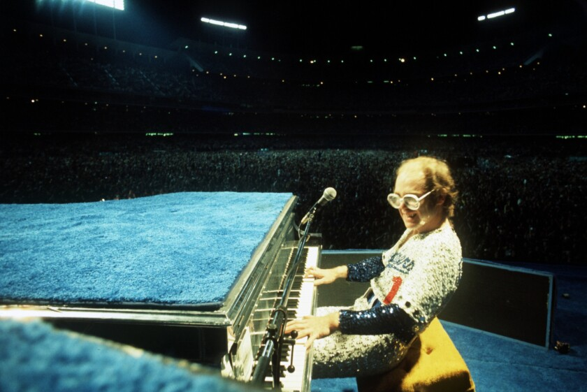 Elton John at Dodger Stadium in 1975