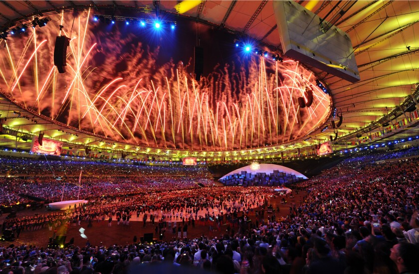 Fountains of fireworks light up Maracaña Stadium during the opening ceremony of the 2016 Olympics in Rio de Janeiro.