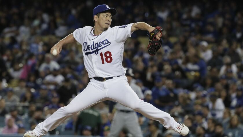 LOS ANGELES, CA, WEDNESDAY, MAY 15, 2019 - Dodgers starter Kenta Maeda pitches the third inning agai