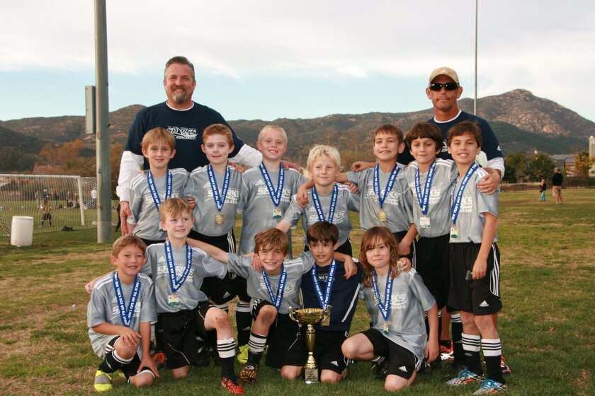 The Sharks 8U Boys All-Stars, coached by Tom Levenberg, clinched the Escondido New Years' Kickoff Tournament in dramatic fashion.