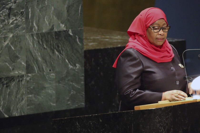 La presidenta de Tanzania, Samia Suluhu Hassan, interviene en la 76ta sesión de la Asamblea General de la ONU