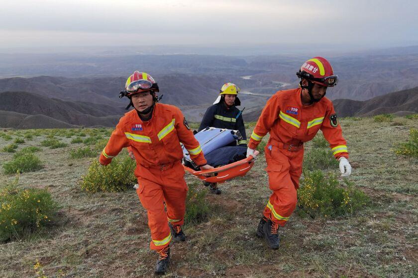 Rescuers head toward an incident.