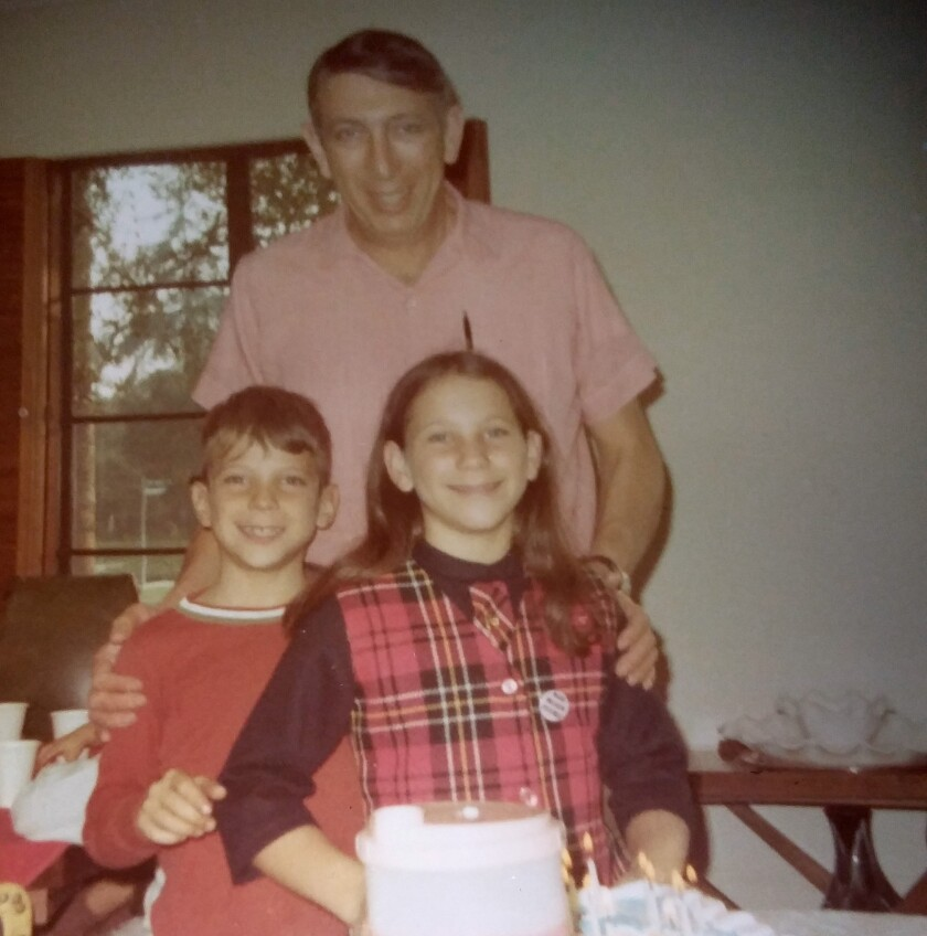 Matthew Stegman, then 9, and Janet Stegman, then 12, with their father, Edwin Stegman, in 1970.