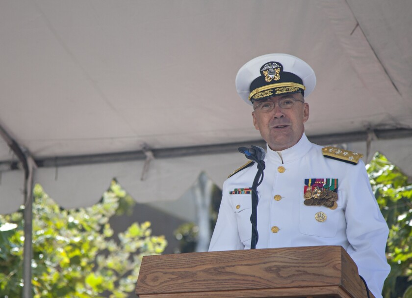 Vice Adm. C. Forrest Faison, the Surgeon General of the Navy, speaks at a change of command ceremony at Navy Medicine West on Naval Base San Diego Friday, Aug. 16, 2019.