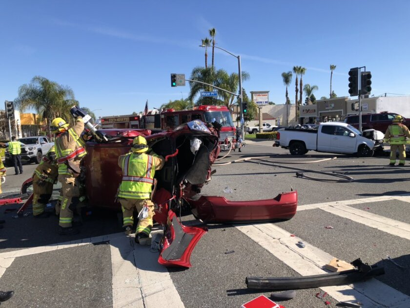 Two people are taken to trauma centers after three-car crash in Costa Mesa