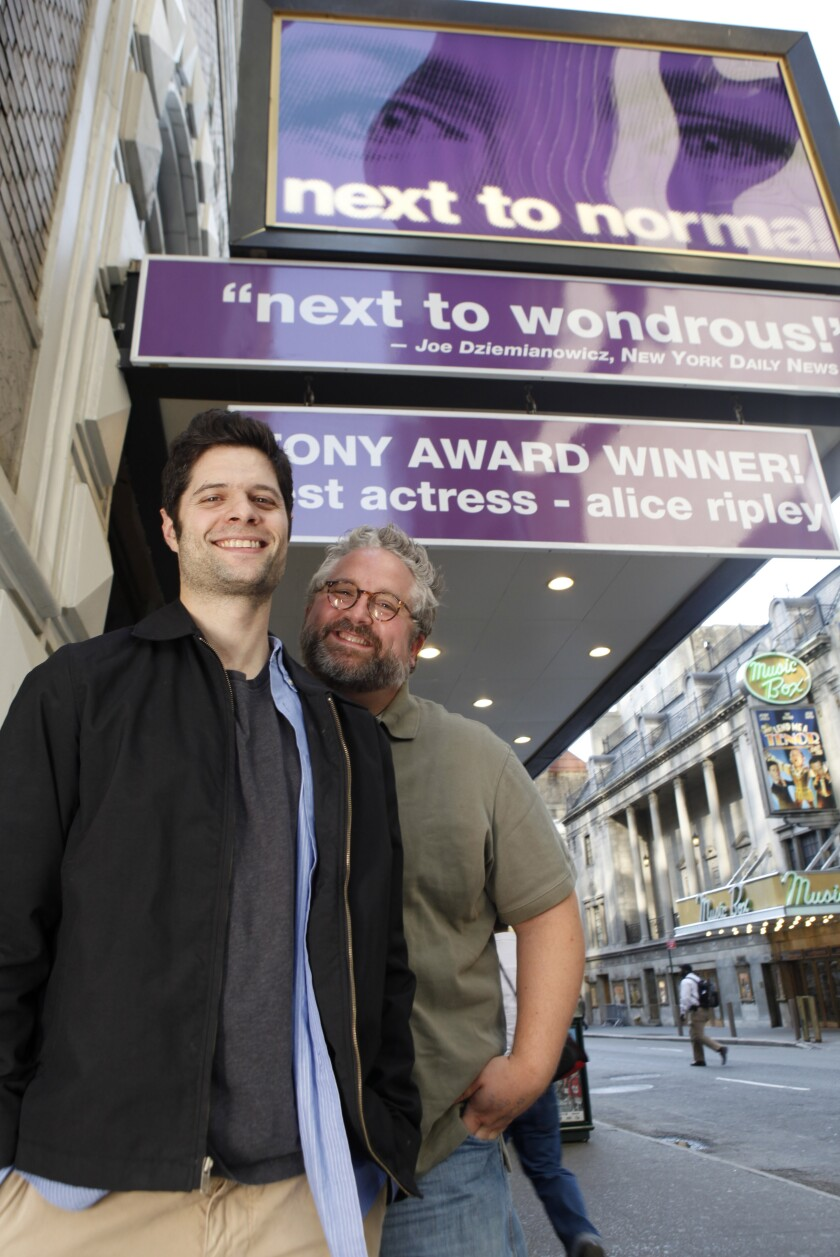 """Composer Tom Kitt (left) and writer-lyricist Brian Yorkey, pictured on Broadway in 2010, won the Pulitzer Prize for their collaboration on the musical """"Next to Normal,"""" which is being revived in Escondido this week."""