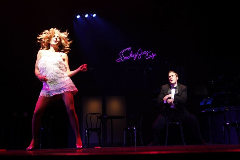 "Lauren Hildebrandt and Robert J. Townsend in the San Diego Musical Theatre production of ""Smokey Joe's Cafe."""