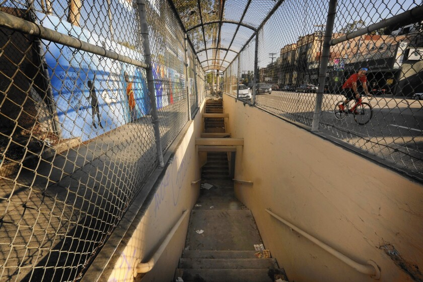The pedestrian tunnel that runs from Micheltorena Elementary School to the other side of Sunset Boulevard in Silver Lake has been a magnet for vagrants and the city plans to permanently seal it, over the objections of some residents.