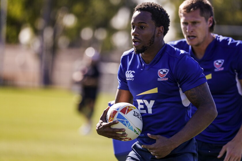 Carlin Isles breaks into the clear on a run during a U.S. rugby sevens practice Feb. 26, 2020, at Dignity Health Sports Park in Carson.