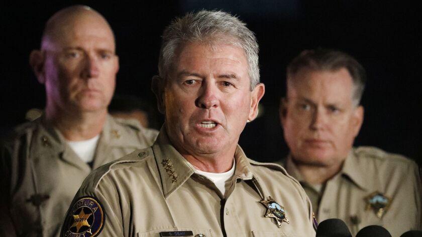 THOUSAND OAKS, CA - NOVEMBER 8, 2018. Sheriff Geoff Dean who is retiring after almost 40 years with