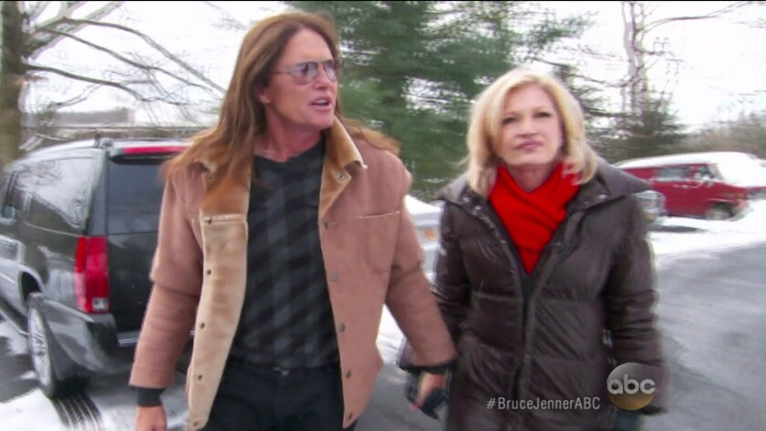 A screen grab of Bruce Jenner's interview with Diane Sawyer on ABC.
