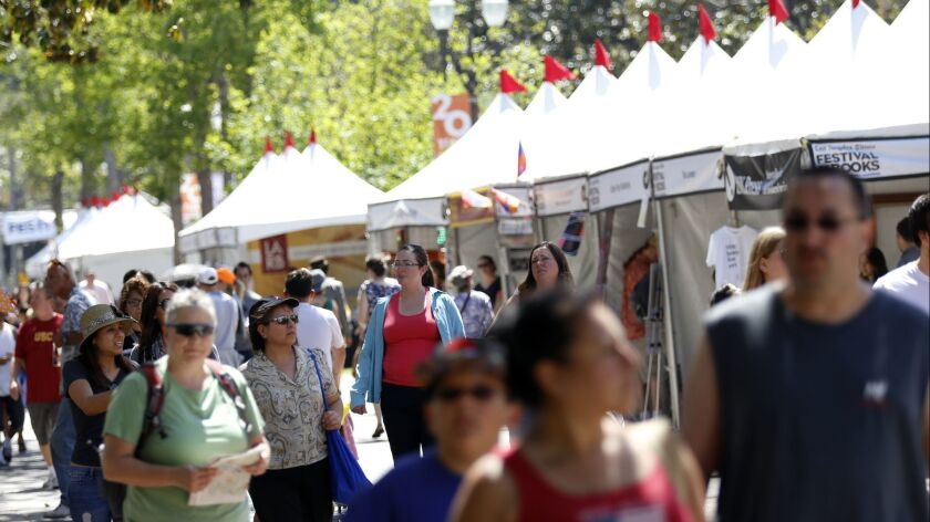 LOS ANGELES, CA - APRIL 18, 2015: Guests enjoy the Los Angeles Times Festival of Books at USC, in L