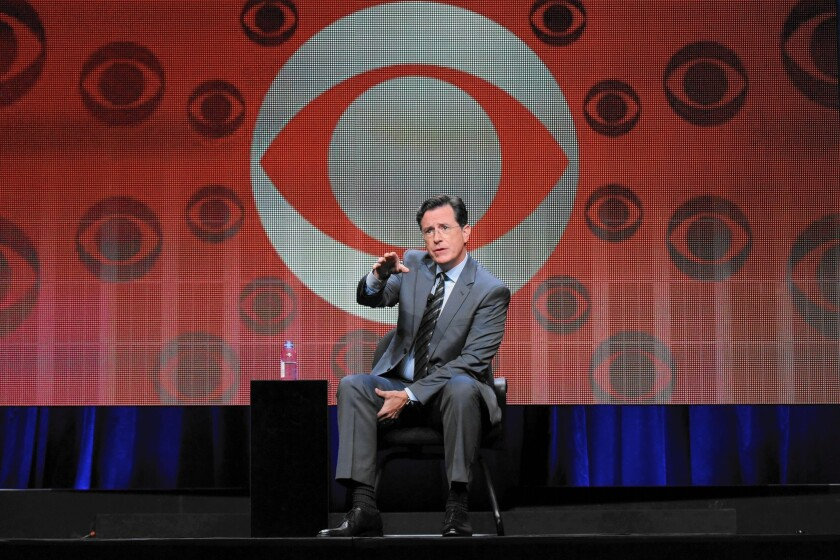 """Stephen Colbert participates in """"The Late Show With Stephen Colbert"""" segment of the CBS Summer TCA Tour on Monday."""