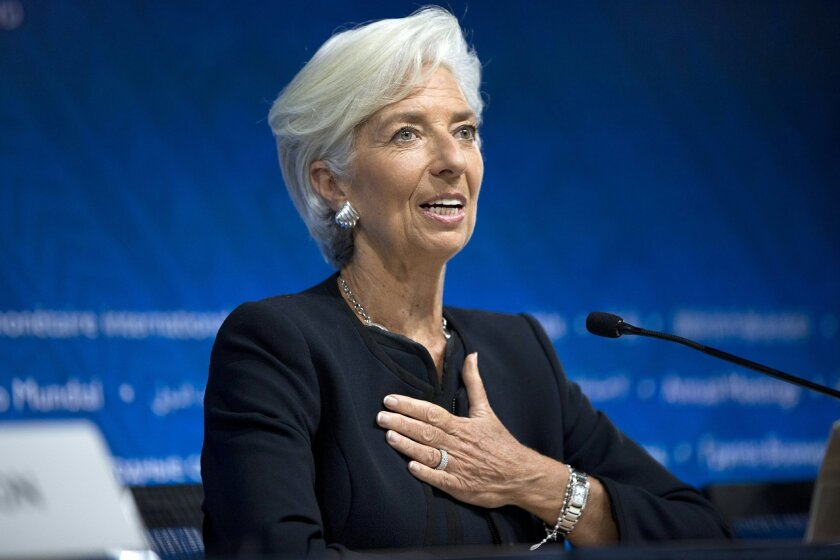 FILE - In this Thursday, Oct. 8, 2015, file photo, International Monetary Fund chief Christine Lagarde answers a question during a news conference, in Lima, Peru. In a statement Thursday, Feb. 11, 2016, the IMF executive board said they've nominated Lagarde for a second five-year term. (AP Photo/Ro