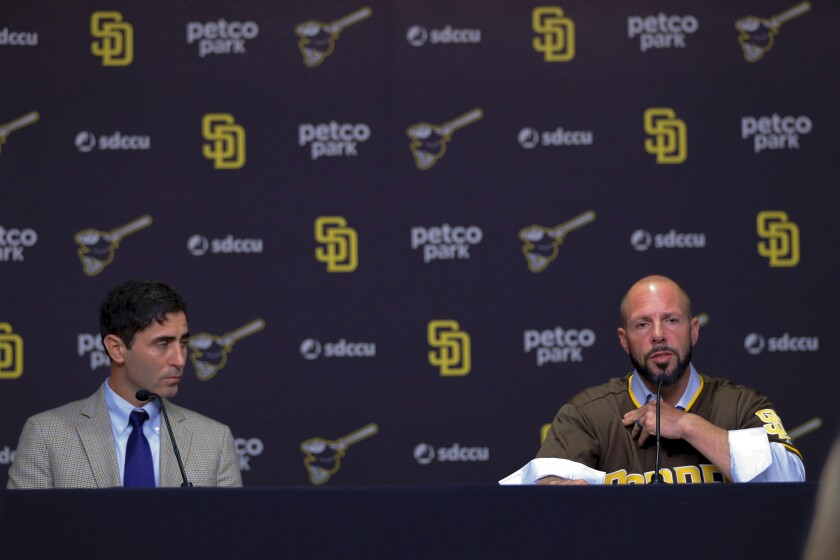 Padres General Manager, A.J. Preller (left) introduced the team's new manager, Jayce Tingler on Oct. 31.