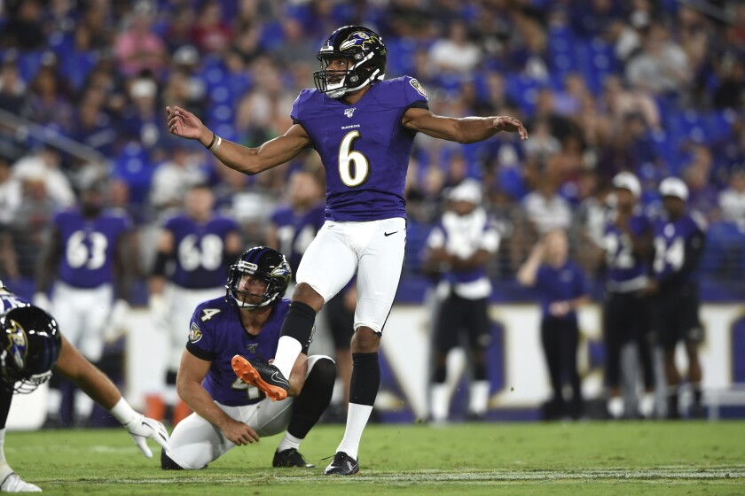 Kaare Vedvik watches his field-goal attempt during a Ravens game against Jacksonville on Aug.