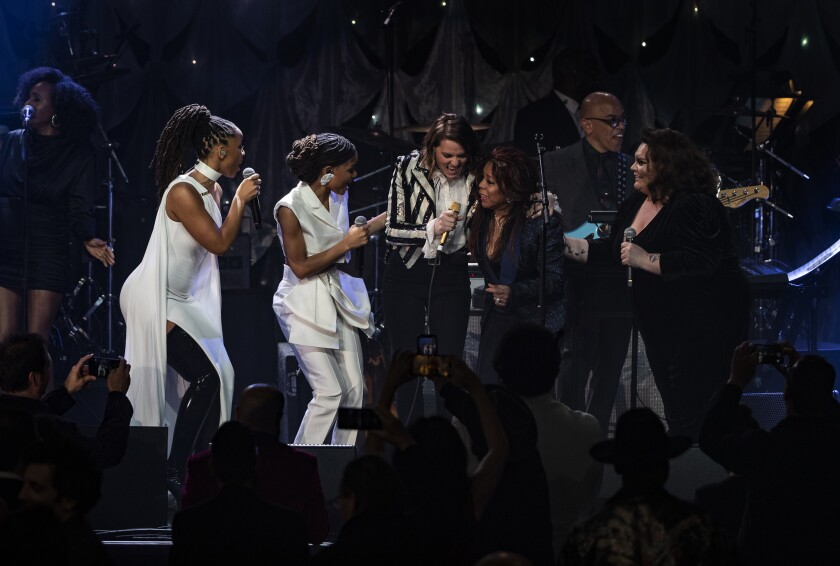BEVERLY HILLS, CA - FEBRUARY 9, 2019: Chole and Halle are joined on stage by Brandi Carlile, Valerie