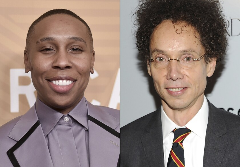 """This combination photo shows Lena Waithe, left, and Malcolm Gladwell, who will join several influencers on an advisory board for Audible to help discover new talent. The online audiobook and podcast platform announced Monday the formation of the Emerging Voices Advisory Board. The diverse board of esteemed artists, podcasters, producers and writers was created to help Audible experts define and """"further the creative vision"""" of storytellers. (AP Photo)"""