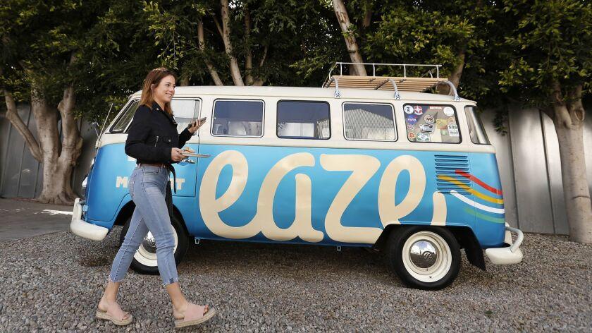 "VENICE, CA - APRIL 18, 2018: Acacia Friedman takes a break from ""Dawn of Cannabis"" event at EAZE L"