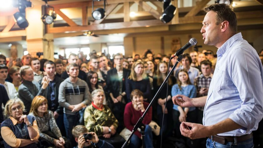 Russian opposition leader Alexei Navalny speaks to people in the city of Perm, Russia on June 9.