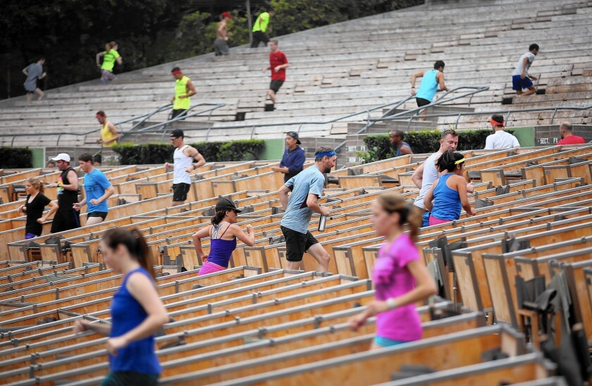 November Project is a free running workout that uses the steps of the Hollywood Bowl