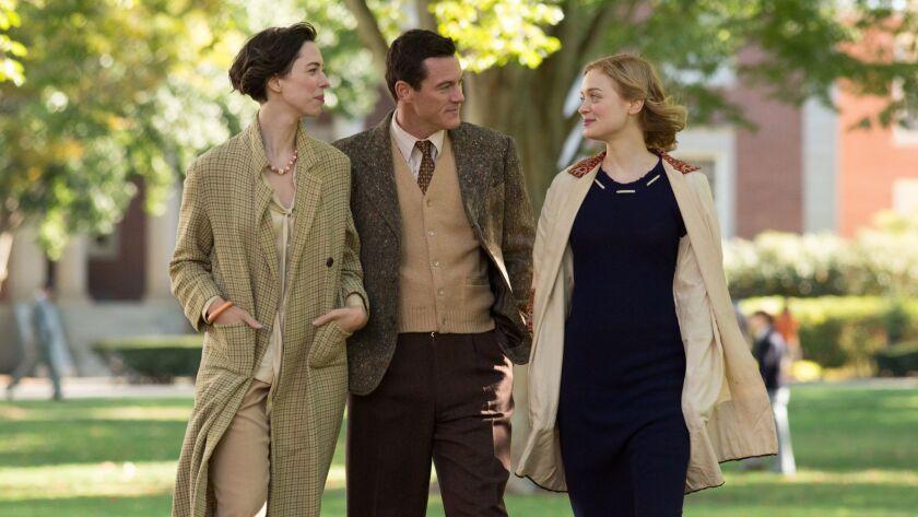 "Rebecca Hall, left, portrays Elizabeth Marston, Luke Evans is Dr. William Marston and Bella Heathcote is Olive Byrne in ""Professor Marston and the Wonder Women."""