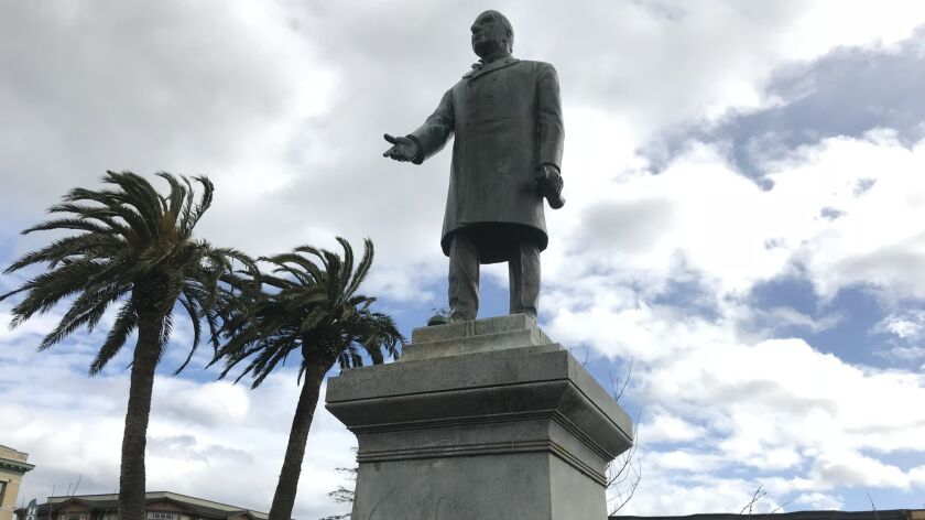 A statue of President William McKinley that has stood in the central plaza in Arcata, Calif., since