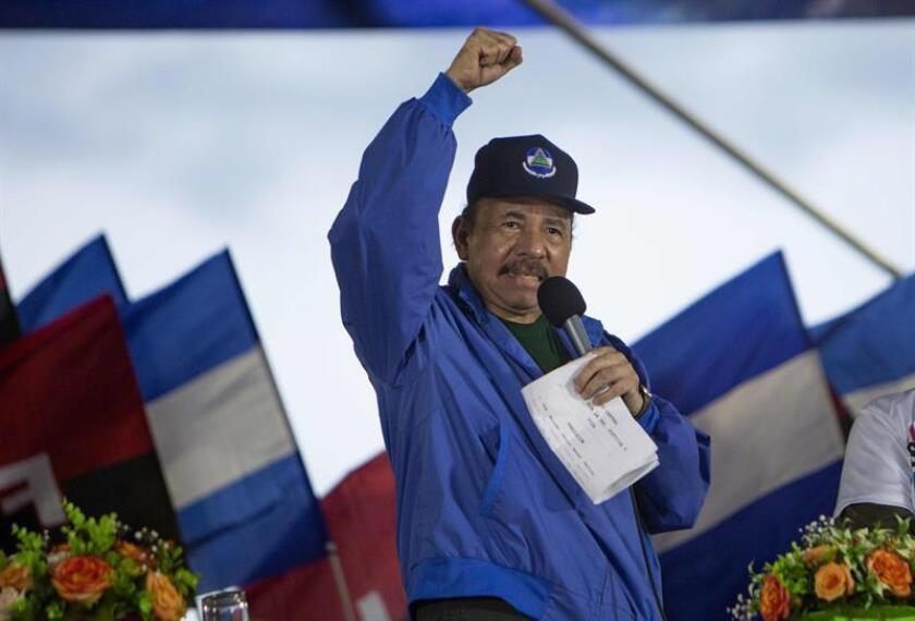 El presidente nicaragüense, Daniel Ortega, habla durante un acto con simpatizantes, en Managua (Nicaragua). EFE/Archivo