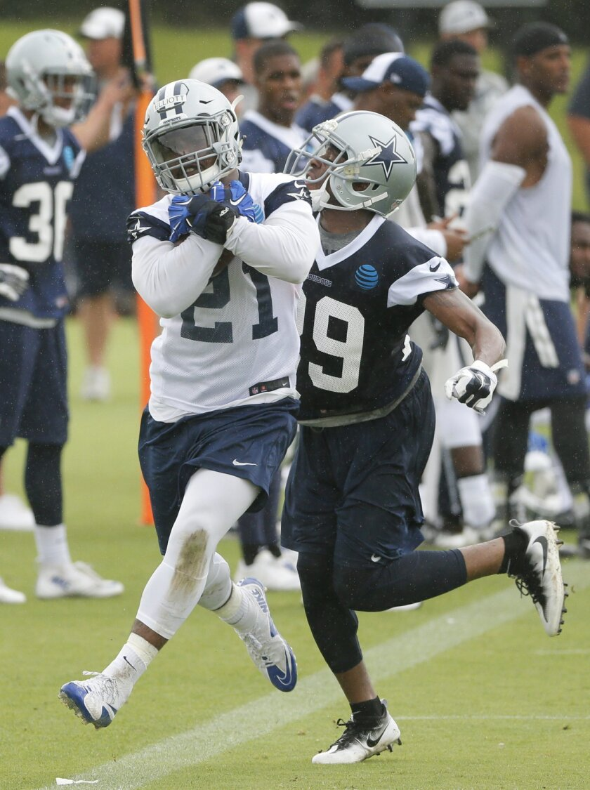 Dallas Cowboys running back Ezekiel Elliott (21) holds on to the ball with both hands as cornerback Deji Olatoye attempts to strip it as they two run a play during an NFL training camp, Wednesday, June 1, 2016, in Irving, Texas. (AP Photo/Tony Gutierrez)