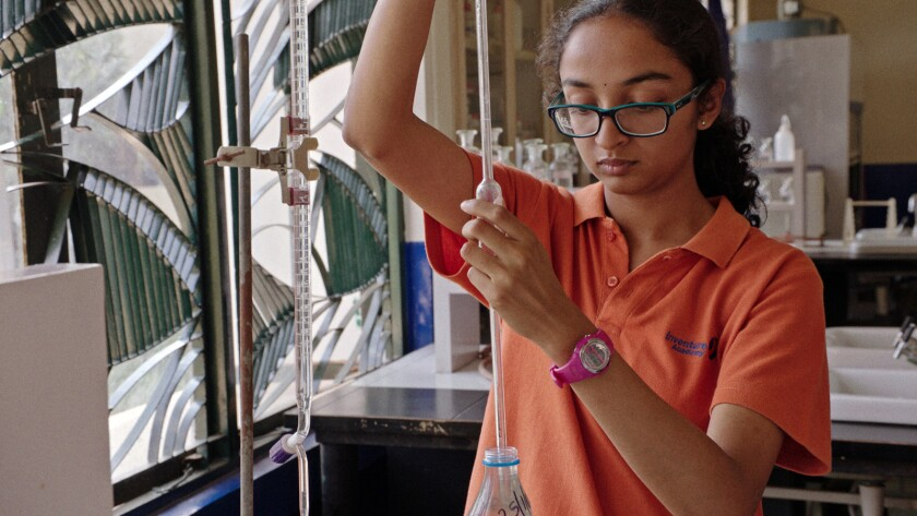 """Sahithi in the film """"Inventing Tomorrow,"""" a documentary on the International Science and Engineering"""