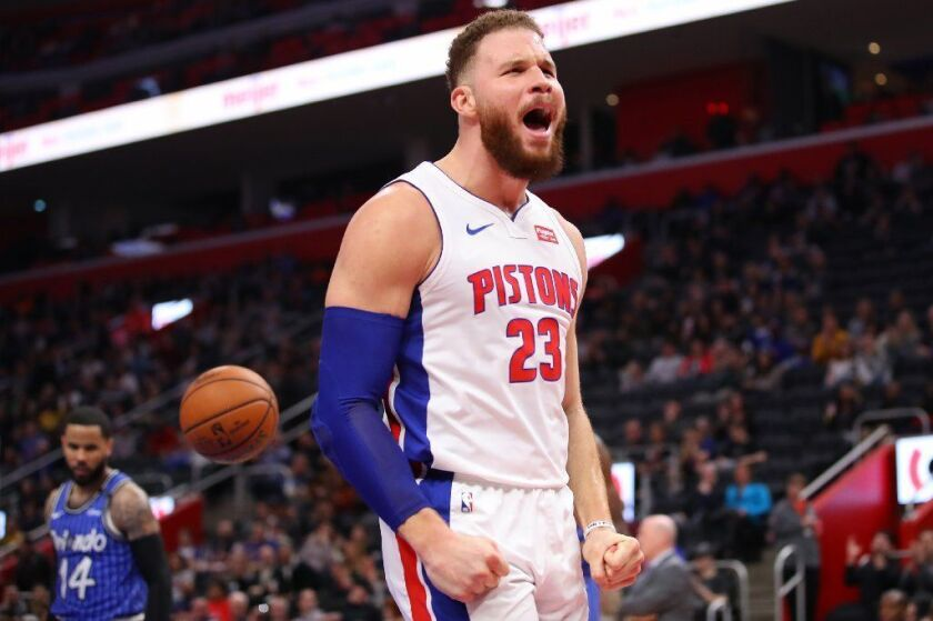 Pistons forward Blake Griffin lets out a yell after scoring against the Magic during a game last season in Detroit.