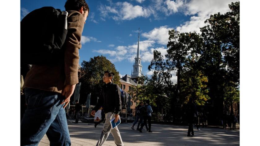 CAMBRIDGE, MASS. -- FRIDAY, OCTOBER 12, 2018: Students around between classes at Harvard University