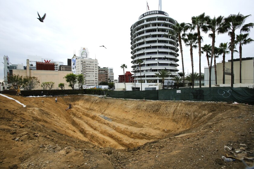 A trench that was dug at 6230 Yucca St, just east of the Capitol Records building in Hollywood, to see if an earthquake fault exists underneath the site of a planned apartment complex.