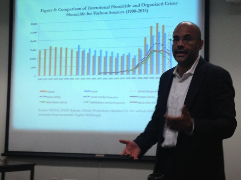 David Shirk presents findings of report on drug violence on Wednesday at University of San Diego.