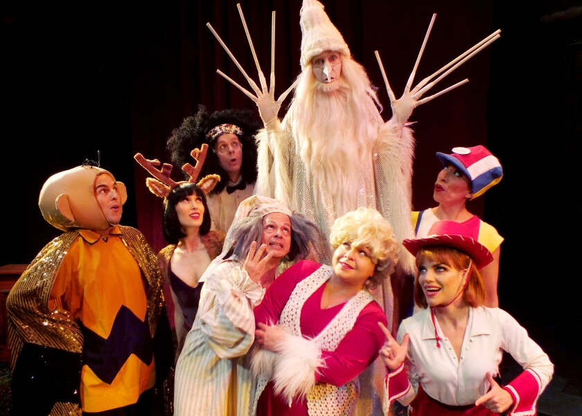 """The Winter Warlock (Beth Kennedy) attempts a transition from bit player to lead in this year's version of Troubadour Theater Company's holiday show, """"Walkin' in a Winter One-Hit-Wonderland."""""""
