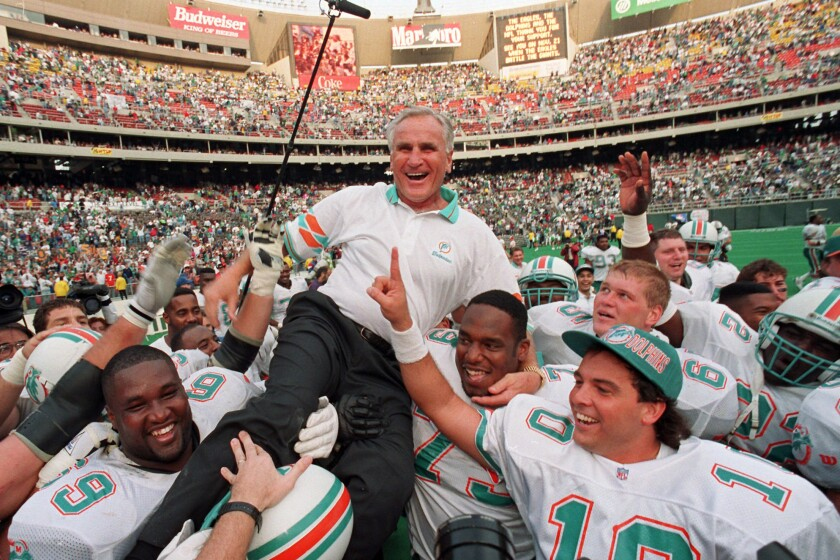Don Shula is carried off the field after earning his 325th victory on Nov. 14, 1993, in Philadelphia.