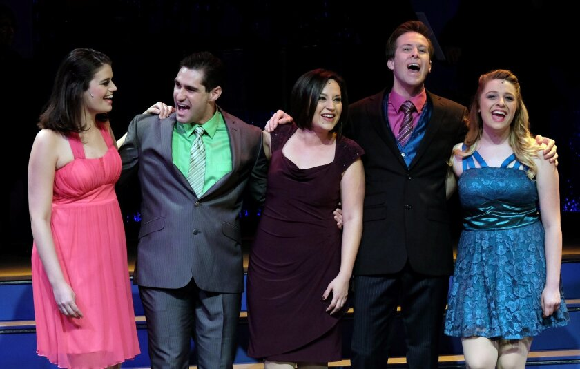 "Kristen Lamoureux, Benjamin Lopez, Marlene Montes, Casey Garritano and Chelsea Franko in Moonlight Stage Productions' ""The World Goes 'Round."""