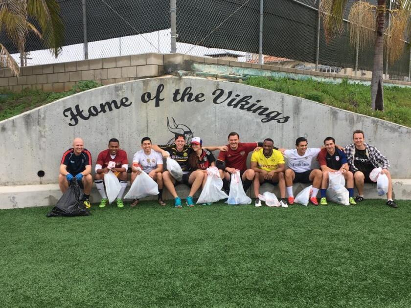 Soccer players for a clean (and public) field — I am part of the fight to keep the track and athletic field at La Jolla High School open to the public. On Feb. 11, the soccer group that usually plays there showed up early to walk around the facilities and clean up.