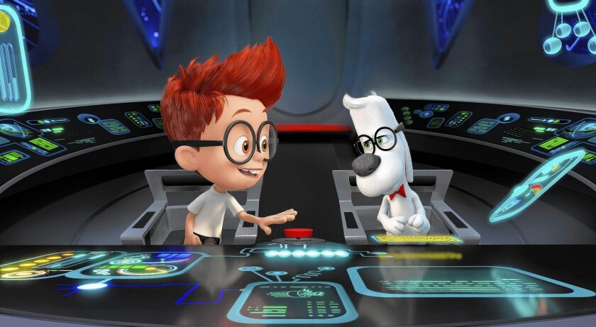 """Sherman asks a skeptical Mr. Peabody if he can take control of the WABAC in the animated """"Mr. Peabody & Sherman."""""""