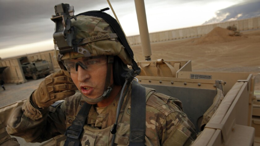 Sgt. Alex Camacho, 26, of Fontana, Calif., is on his first deployment in Iraq. He's with the 101st Division 2nd Brigade of the 126th Infantry. More than 1,000 coalition forces are working working with Iraqi forces at Qayyarah West airfield.