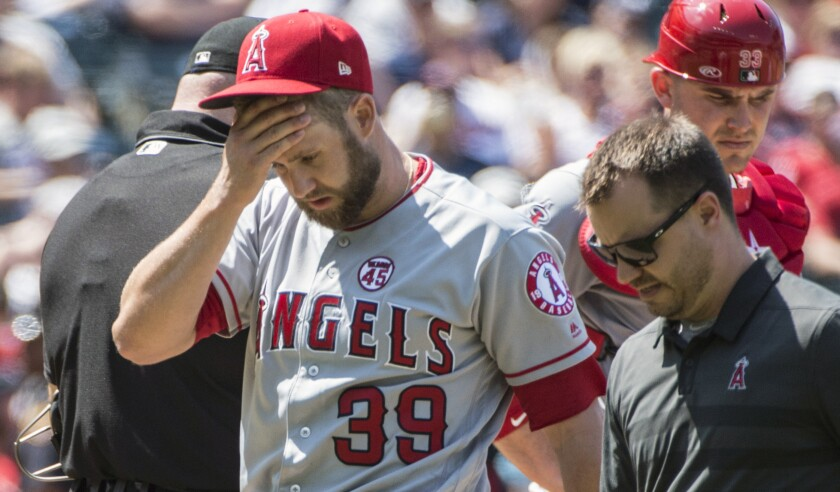 Angels pitcher Jaime Barria delivers a pitch during the team's 6-2 loss to the Cleveland Indians on Sunday.
