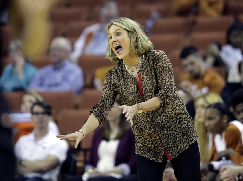 Texas head coach Karen Aston signals to her players during the second half of an NCAA college basketball game against Oklahoma State, Wednesday, Feb. 10, 2016, in Austin, Texas. Texas won 70-55. (AP Photo/Eric Gay)