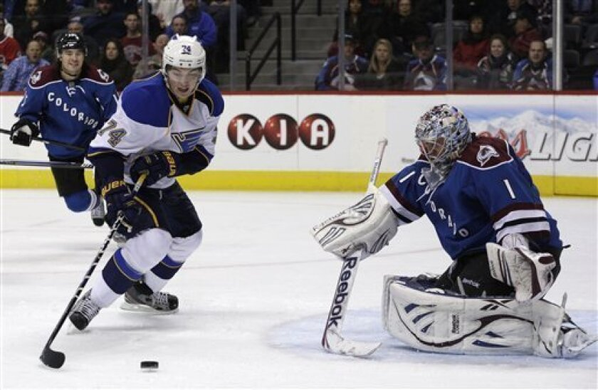 St. Louis Blues right wing T.J. Oshie (74) shoots on Colorado Avalanche goalie Semyon Varlamov, of Russia, during the second period of an NHL hockey game, Wednesday, Feb. 20, 2013, in Denver. (AP Photo/Joe Mahoney)